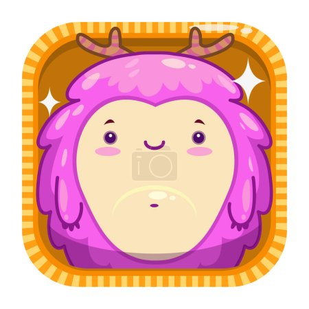 App icon with funny cartoon pink fluffy monster.
