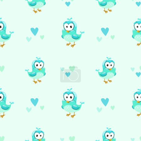 Cute girlish seamless pattern with bird