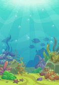 Cartoon underwater vector illustration Undersea world Ocean bottom with sand shells stones and sea weeds Aquarium background for game design
