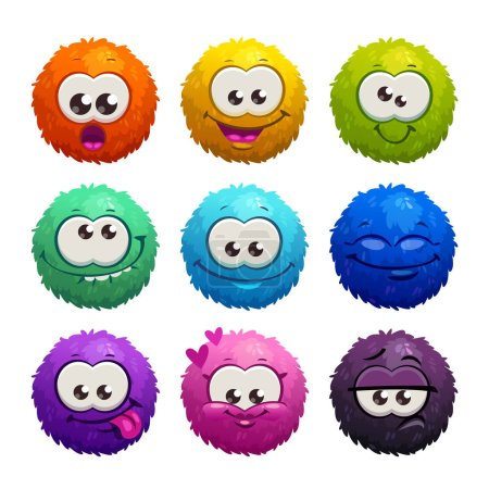 Funny colorful cartoon comic fury round characters