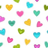 Cute seamless pattern with decorative colorful hearts