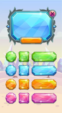 Illustration for Crystal game user interface assets on the winter fantasy background. Bright diamond colorful buttons and panel for web or GUI design. Vector illustration. - Royalty Free Image