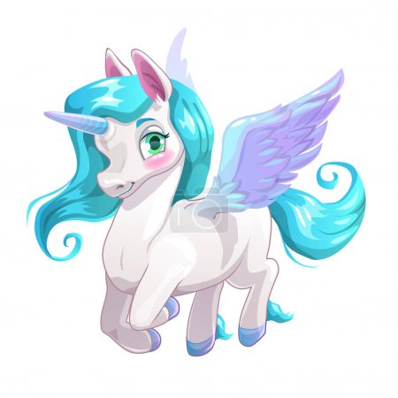 Cute white cartoon beautiful Pegasus
