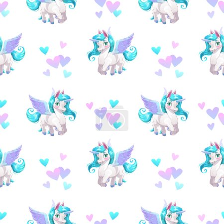 Seamless pattern with cute cartoon pegasus