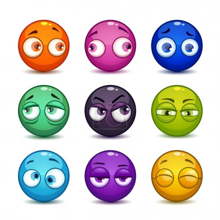 Funny colorful glossy balls with eyes.