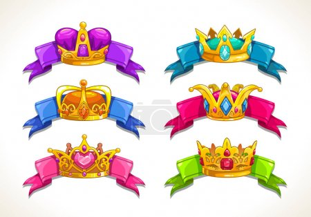 Cartoon golden crowns on the colorful ribbons.