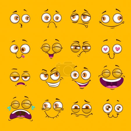 Illustration for Funny cartoon comic faces on yellow background. Vector illustration. - Royalty Free Image