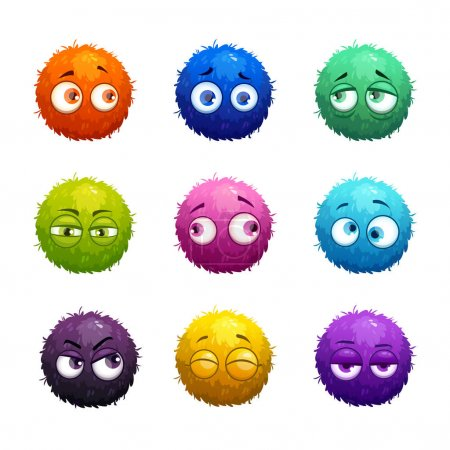 Funny cartoon colorful shaggy balls with eyes.