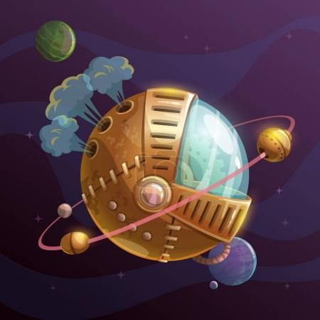 Illustration for Fantasy steampunk planet on space background. Vector illustration. - Royalty Free Image