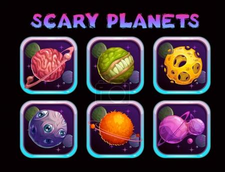Illustration for Cartoon scary planet app icons set. Vector space poster template. - Royalty Free Image