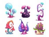Beautiful fantasy mushrooms set.