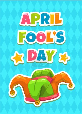 Illustration for April Fool s day greeting card template. Funny cartoon illustration with Jesters hat and slogan on blue background. Vector banner with Jokers cap. - Royalty Free Image