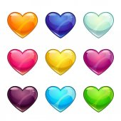 Colorful glossy hearts collection