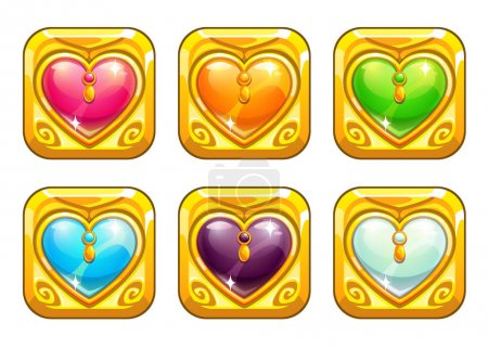Cartoon golden love amulets