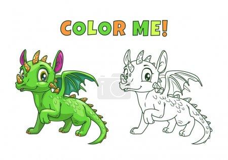 Cute cartoon green dragon