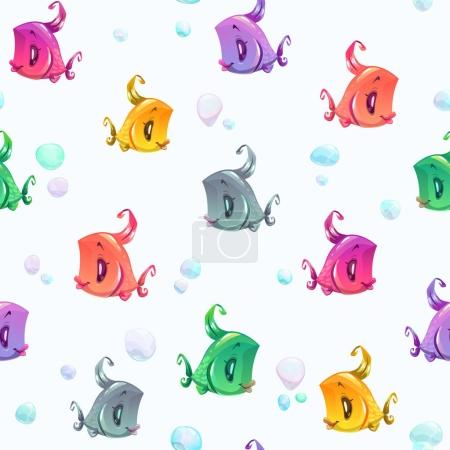 Seamless pattern with cute colorful cartoon fishes