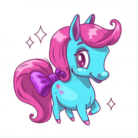Little cute blue horse with pink hair.