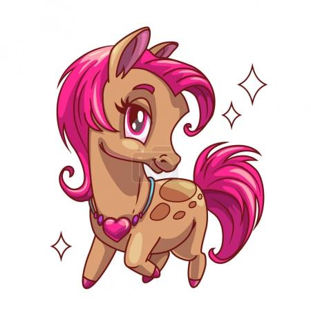 Little cute glamour horse with pink hair