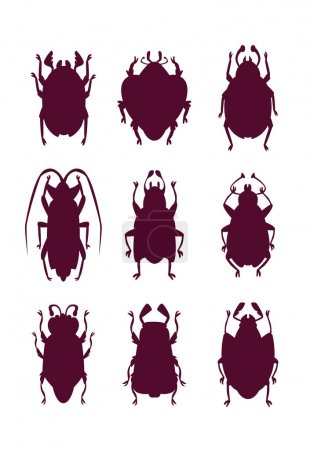 Funny bugs silhouettes set.