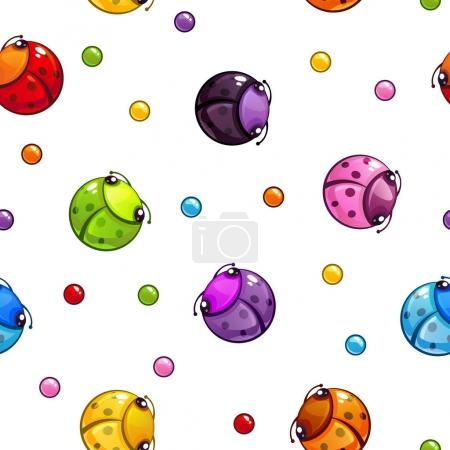 Seamless pattern with colorful round bugs.