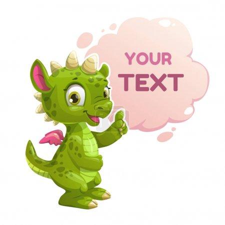 Funny cartoon little green dragon