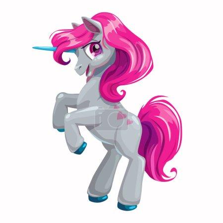 Cute cartoon unicorn with pink hair.