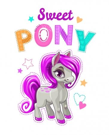 Cute cartoon little horse with purple hair.