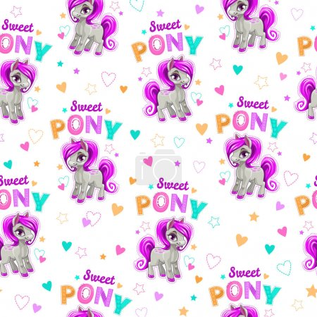 Cute seamless pattern with funny cartoon pony