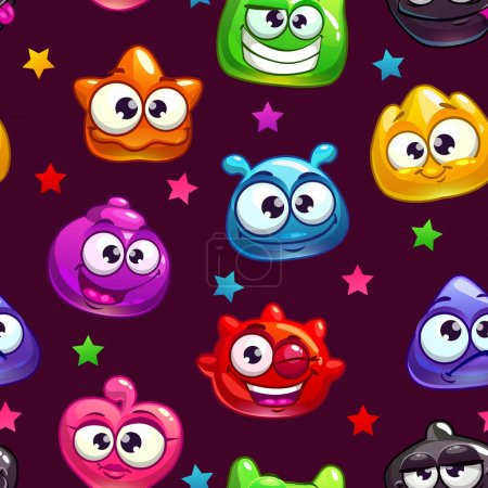 Seamless pattern with cute cartoon jelly characters