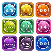 Funny cartoon colorful fluffy characters