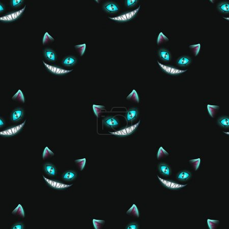 Illustration for Seamless pattern with disappearing cat faces on black background. Cheshire Cat texture. Vector illustration. - Royalty Free Image