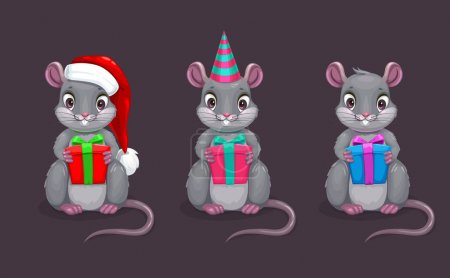 Illustration for Funny cartoon sitting mouse with gift box in the hand. Different hats and colors. Symbol of the New Yer. Vector cute rat icons set. - Royalty Free Image