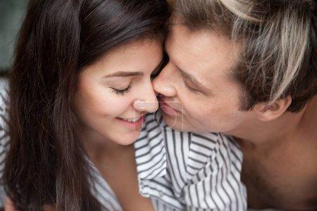 Closeup of romantic couple tender
