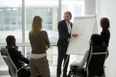 Photo pour Souriant coach d'affaires enseignant l'équipe de marketing des ventes sur la formation du personnel donnant la présentation à l'aide de tableau à feuilles mobiles, chef d'équipe expliquant la nouvelle stratégie des employés sur le travail d'équipe de formation séminaire d'entreprise - image libre de droit