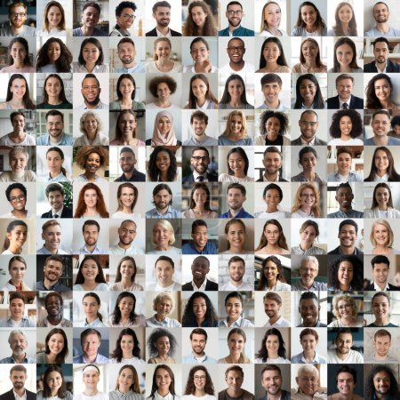 Photo pour Beaucoup de gens heureux multiraciaux regardant la caméra en mosaïque de collage carré. De nombreux visages multiethniques souriants de jeunes et de vieux hommes d'affaires ethniques divers tirs de tête de groupe. Hr, personnel, concept de société . - image libre de droit