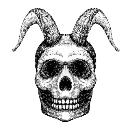 Grunge style art of human skull with goat horns. P...