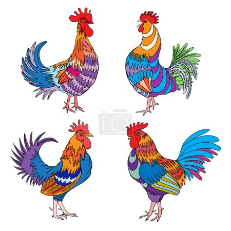 Set of had drawn roosters