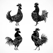 Set of rooster sketches