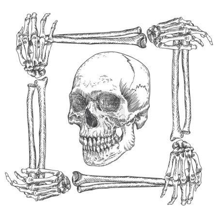 Skull in the frame made of hands bones