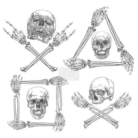 Set of Skulls with crossbones sketches