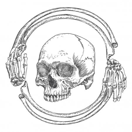 Skull in the frame made of hands bones