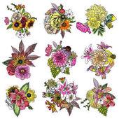 Set of 9 flower bouquets