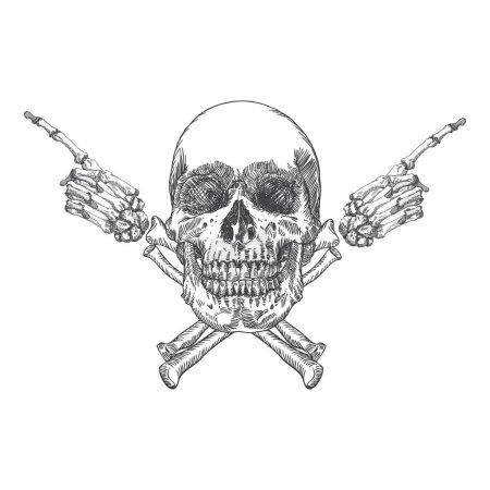 Skull and crossbones made of hands
