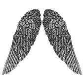 Hand drawn vintage wings pair Etched woodcut vintage style pair of wing Sketch vector