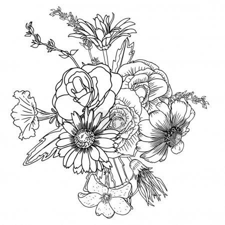 Illustration pour Fleurs. Bouquet de différentes fleurs dessinés à la main. Vintage noir blanc et isolé, peut servir d'invitation, carte de voeux, vecteur d'impression. - image libre de droit