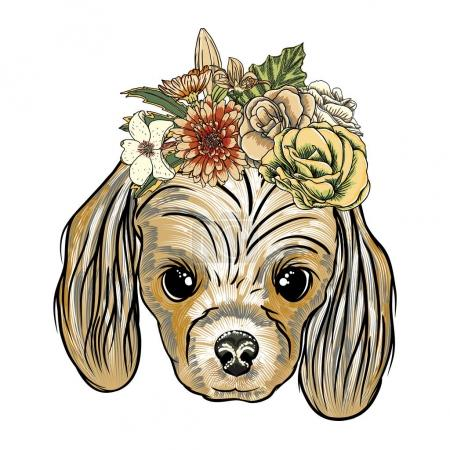 Cocker Spanie puppy in the exotic flowers