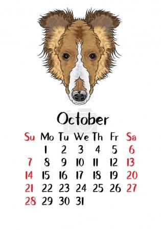 Calendar 2018 with Cute dog