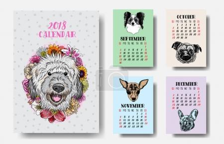 Calendar 2018 with Cute dogs