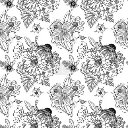 Floral drawing seamless pattern wallpaper