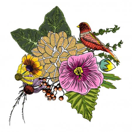 Vintage bouquet of flowers and bird